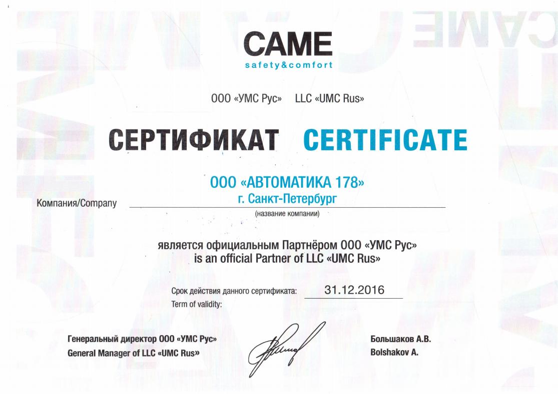сертификат партнера came